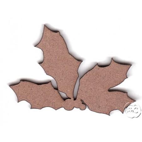 Silueta madera para scrap hojas de acebo