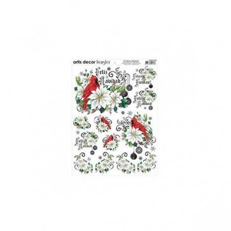 Papel transfer de navidad Flor de pascua 28 X 22 cm Artis Decor