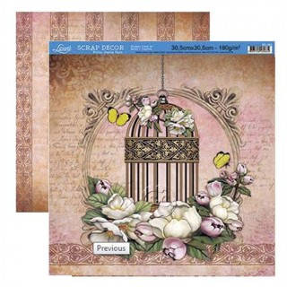 Papel scrap doble cara Flores y jaula