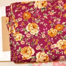 Tela patchwork rosas fondo granate algodon 100%
