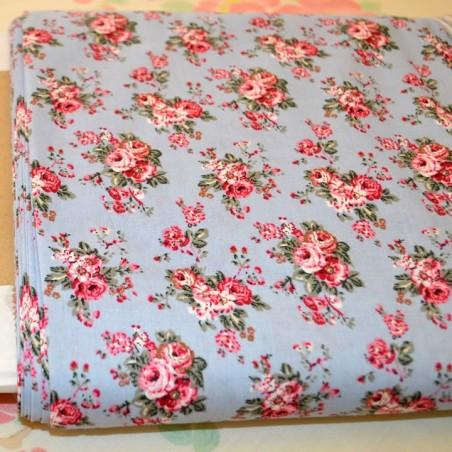 Tela patchwork azul estampado flores algodon 100%