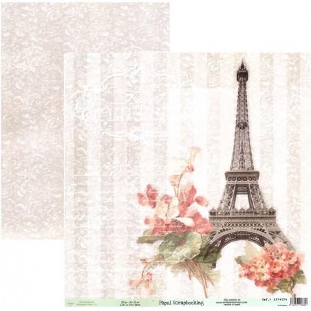 Papel scrap doble cara París torre Eiffel