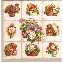 Servilleta decorada mosaico floral