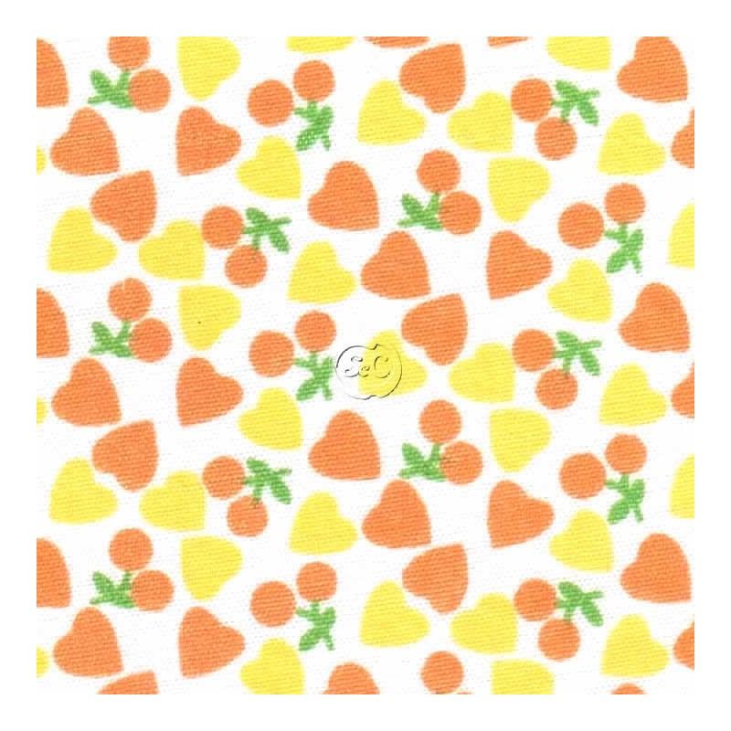 Tela adhesiva corazones naranjas, 30 x 21 cm