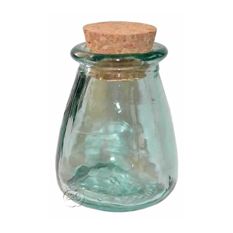 Bote vidrio con tapón de corcho Cono