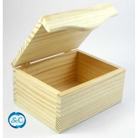 Caja de madera cuadrada con tapa onda 1