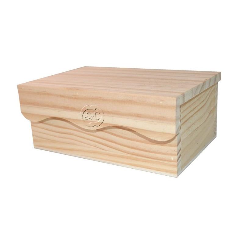Caja de madera con tapa doble ondas 18 cm