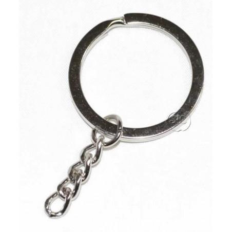 Anilla para llavero de 30 mm cadena plateada