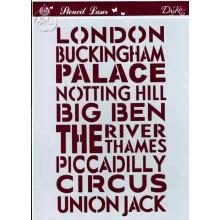 Plantilla para stencil Sitios de Londres DIN A4