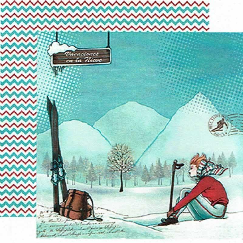 Papel scrap Vacaciones en la nieve