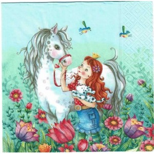 Servilleta decorada Princesa con caballo