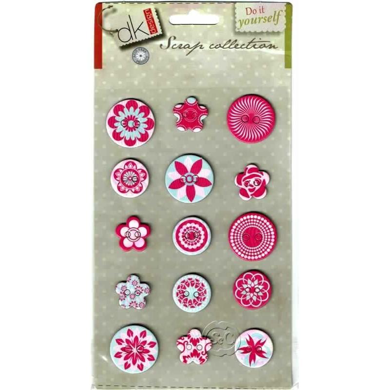 Stiker 15 botones surtidos rosas