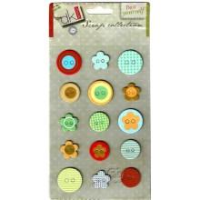 Stiker 15 botones surtidos multicolor