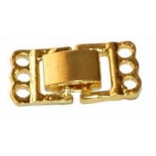 Broche 3 hilos de color oro liso