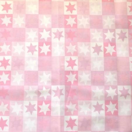 Tela patchwork estrellas rosa
