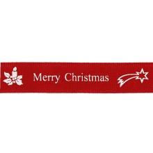 Cinta grosgrain Navidad roja velas 16 mm