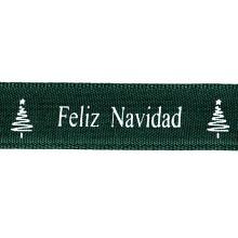 Cinta grosgrain Navidad verde árbol 16 mm