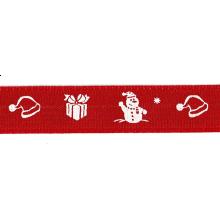 Cinta grosgrain Navidad roja motivos 16 mm