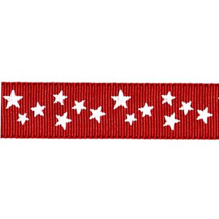 Cinta grosgrain Navidad roja estrellas blancas 16 mm
