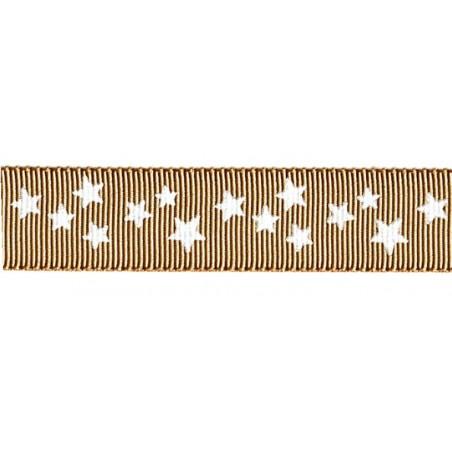 Cinta grosgrain Navidad oro estrellas blancas 16 mm