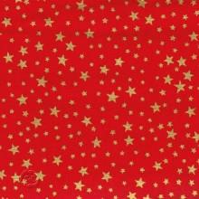 Tela patchwork Navidad roja con estrellas oro