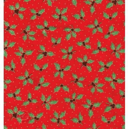 Tela patchwork Navidad roja con muerdago