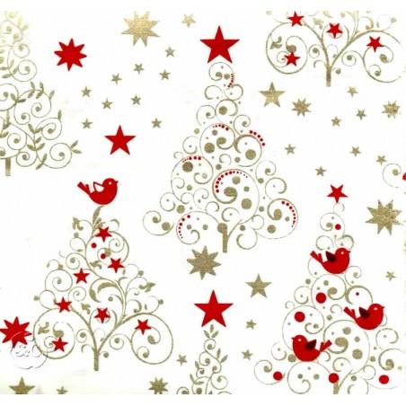 Tela patchwork Navidad blanca arboles