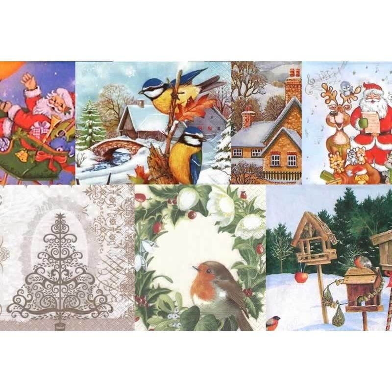Surtido 10 servilletas variadas de Navidad