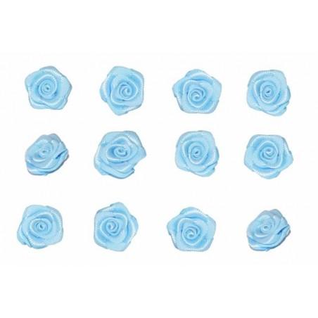 Flores de tela celeste 12 mm 12 unidades