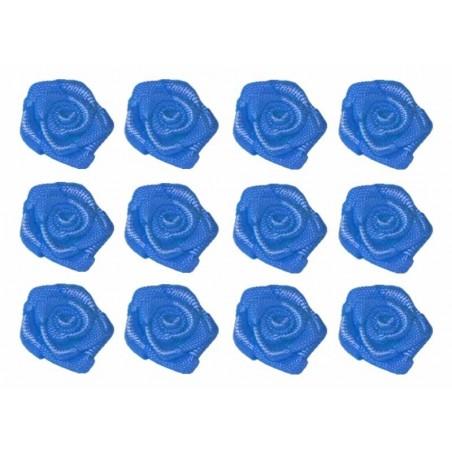 Flores de tela azul 12 mm 12 unidades