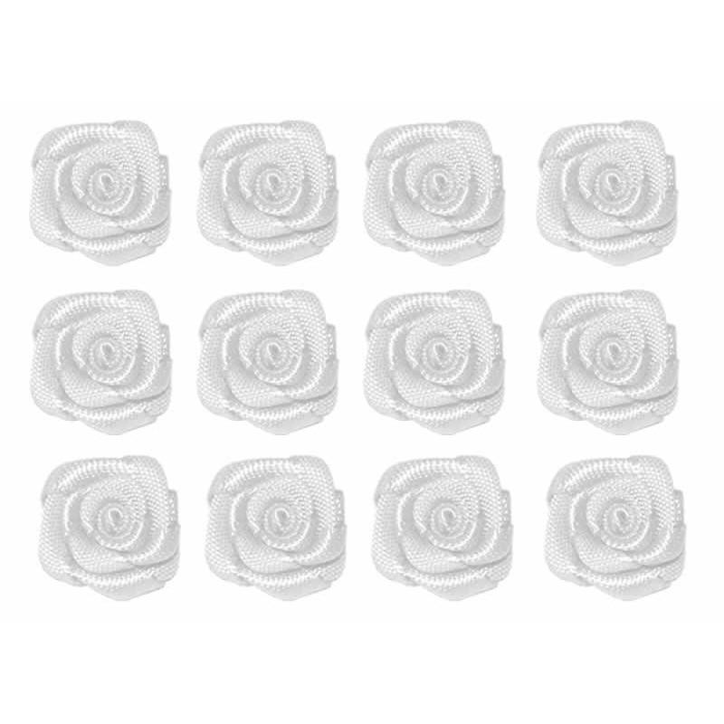 Flores de tela blanca 12 mm 12 unidades