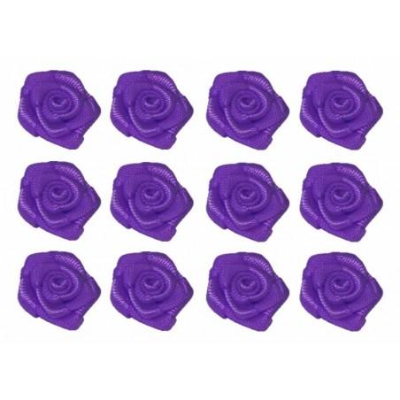 Flores de tela morado 12 mm 12 unidades