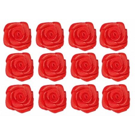 Flores de tela rojo 12 mm 12 unidades