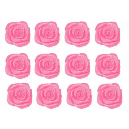 Flores de tela rosa 12 mm 12 unidades