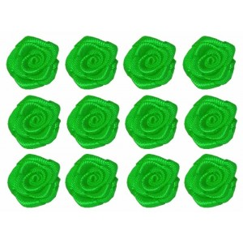 Flores de tela verde 12 mm 12 unidades