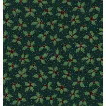 Tela patchwork Navidad verde con muerdago
