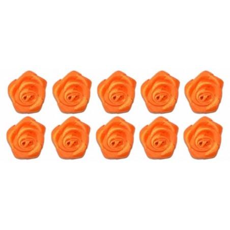 Flores de tela Naranja 2 cm 10 unidades
