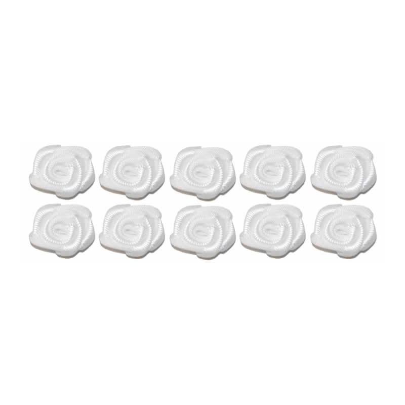 Flores de tela blancas 2 cm 10 unidades