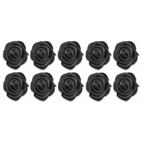 Flores de tela negras 2 cm 10 unidades
