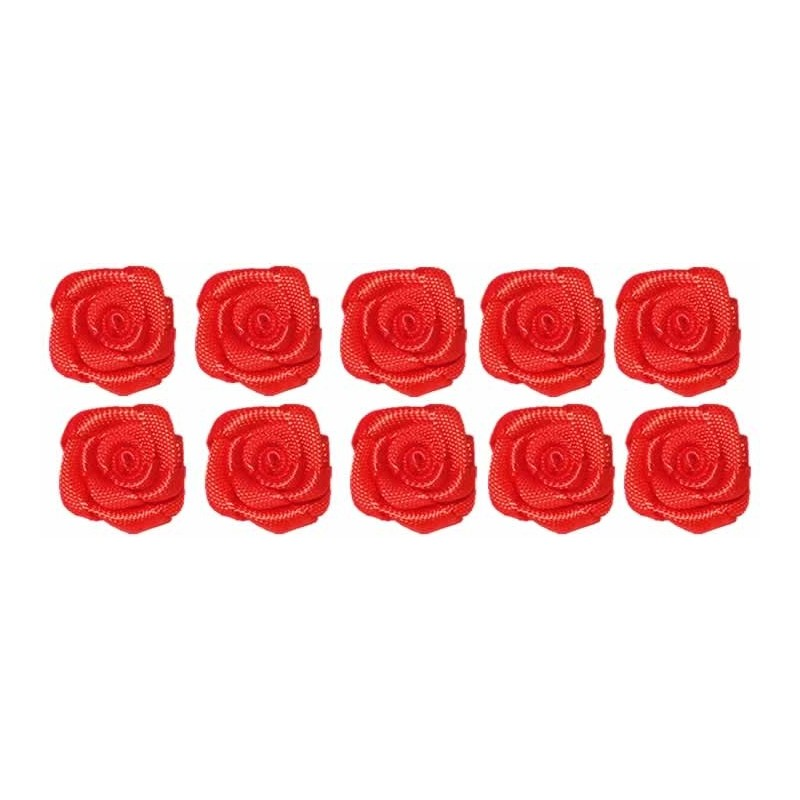 Flores de tela rojas 2 cm 10 unidades