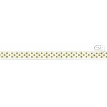 Cinta grosgrain blanca puntos oro 10mm
