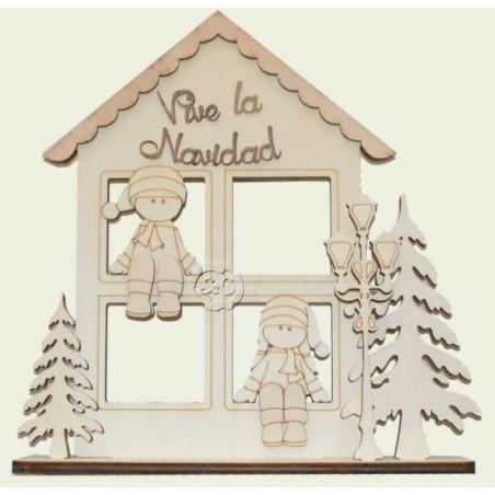 Casa madera Ventana Navidad niños