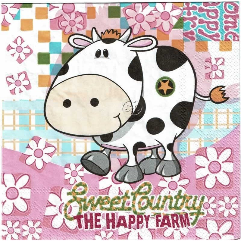 Servilleta decorada Vaca feliz