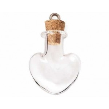 Colgante vidrio botella corazon transparente con cierre corcho 30 mm