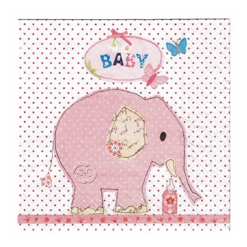 Servilleta decorada Elefante rosa