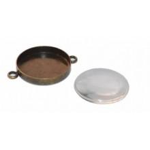 Camafeo 3 cm doble anilla y cabuchon