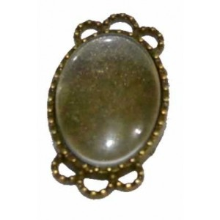 Camafeo ovalado color bronce con 2 coronas 2,5 x 1,5 cm y cabuchon