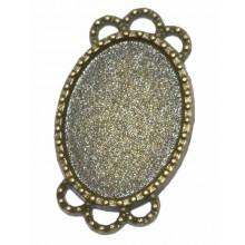 Camafeo ovalado color bronce con 2 coronas 2,5 x 1,5 cm