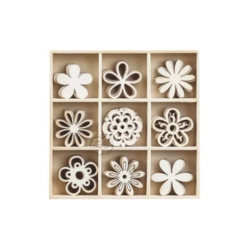 Caja 45 siluetas de madera Flores