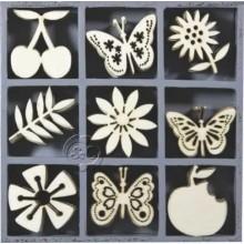 Caja 45 siluetas de madera Flores frutas y mariposas